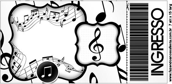 decoracao festa notas musicais:Convite Ingresso Notas Musicais – Fazendo a Nossa Festa