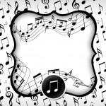 Convite, Moldura e Cartão Notas Musicais