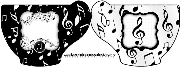 Convite Xícara Notas Musicais