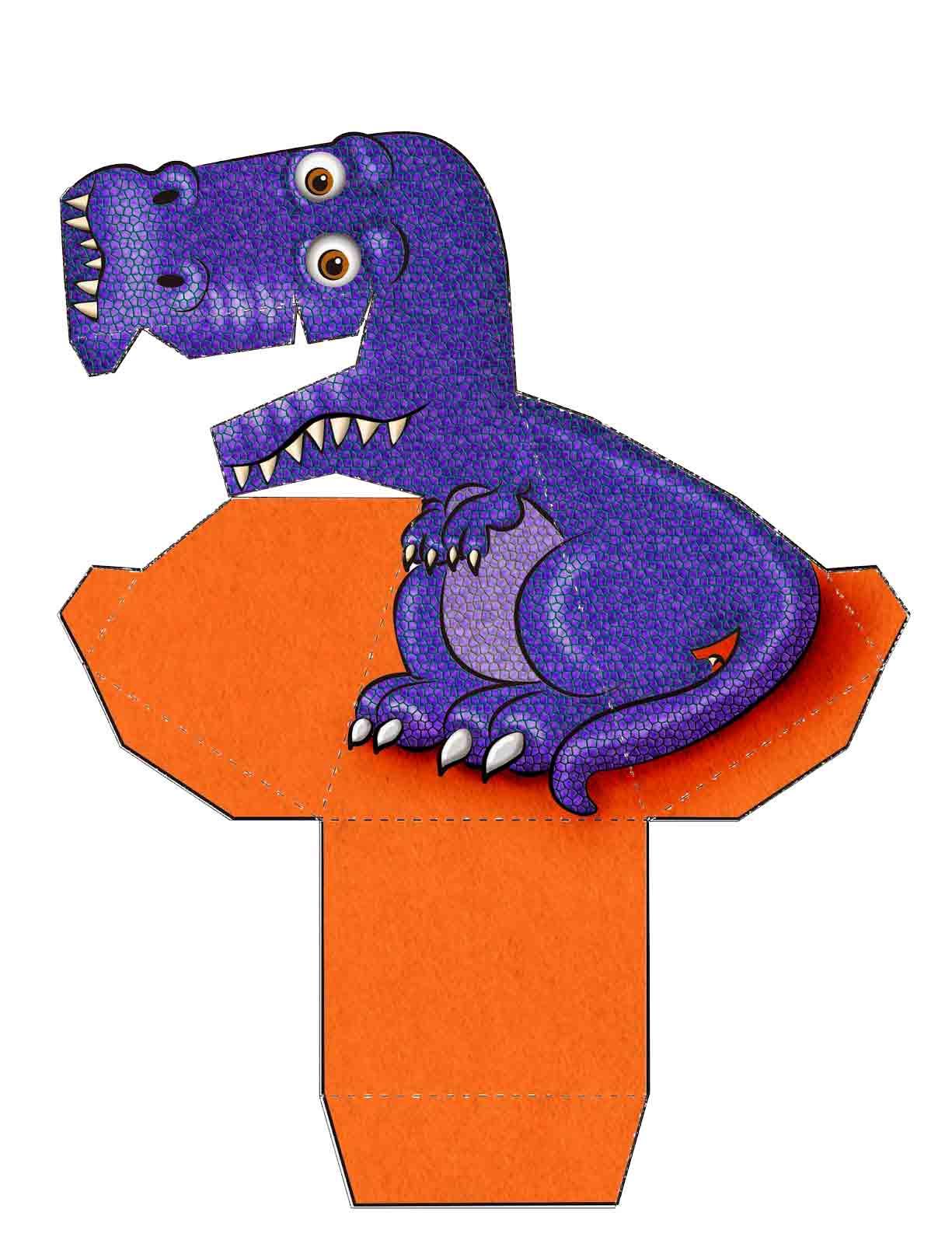 Dinossauro Roxo 3D de Papel que Mexe a Cabeça
