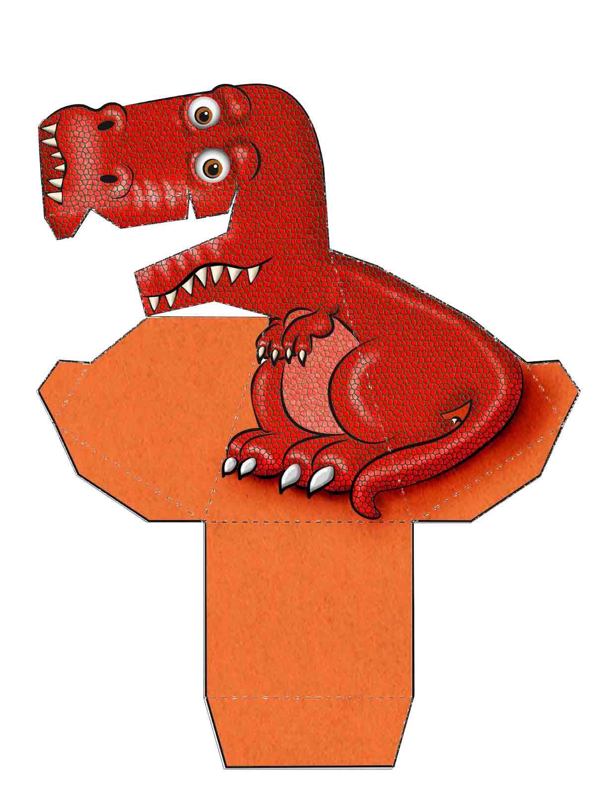 Dinossauro Vermelho 3D de Papel que Mexe a Cabeça