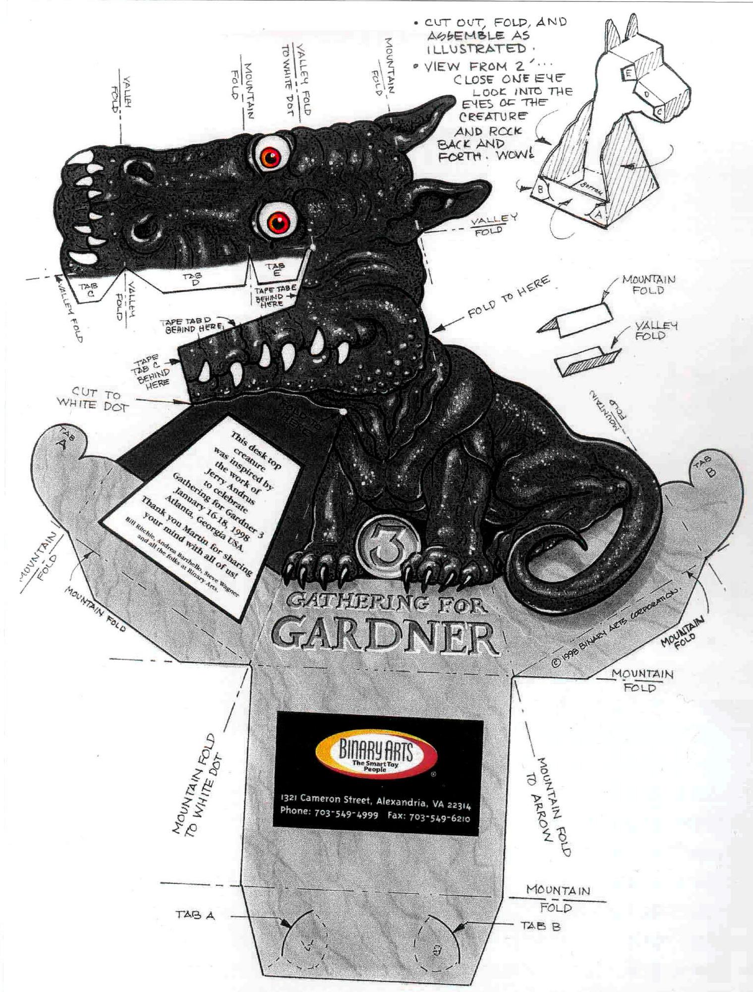 Dragão Preto 3D de Papel que Mexe a Cabeça