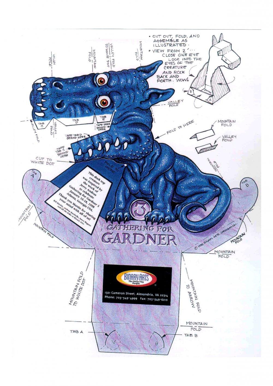 Dragão Azul 3D de Papel que Mexe a Cabeça