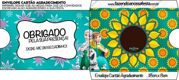 Envelope Cartão Agradecimento Frozen Fever