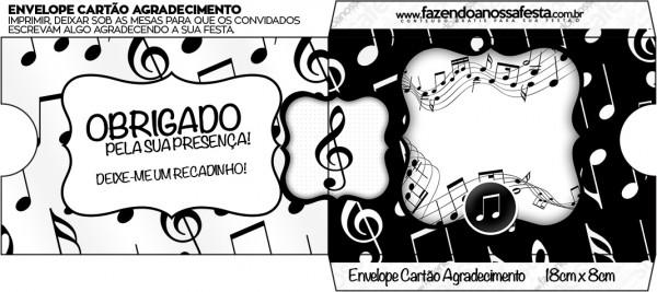 Envelope Cartão Agradecimento Notas Musicais