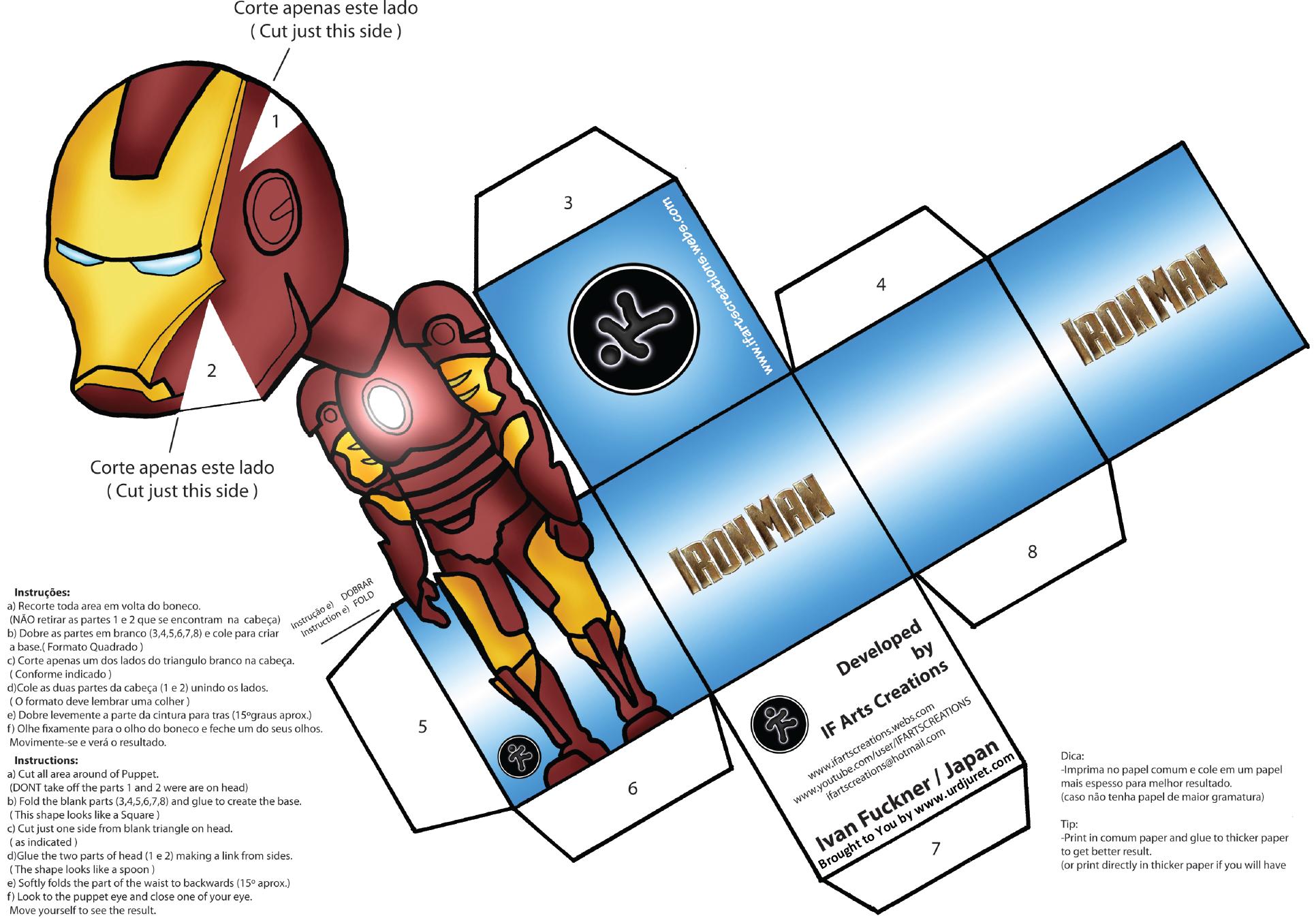 Homem de Ferro 3D de Papel que Mexe a Cabeça