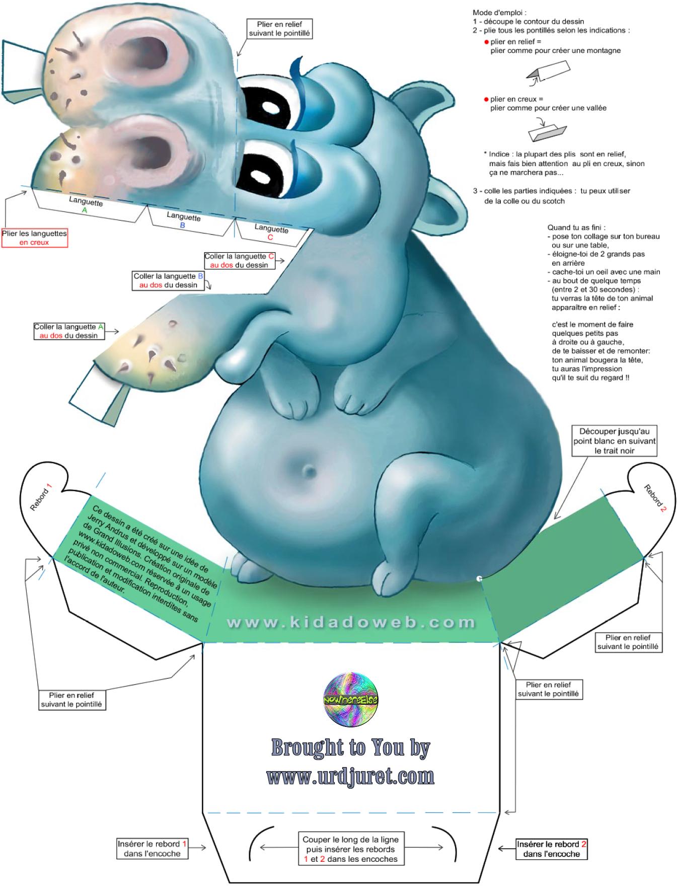 Hipopótamo 3D de Papel que Mexe a Cabeça