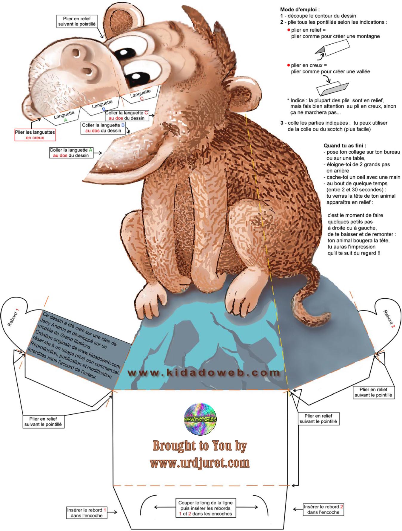 Macaco 3D de Papel que Mexe a Cabeça