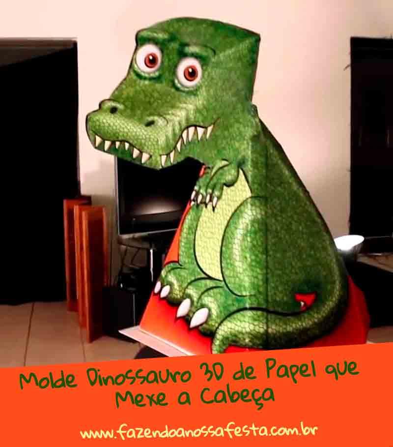 Molde Dinossauro 3D de Papel que Mexe a Cabeça