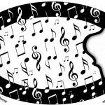 Placa Elipse Notas Musicais