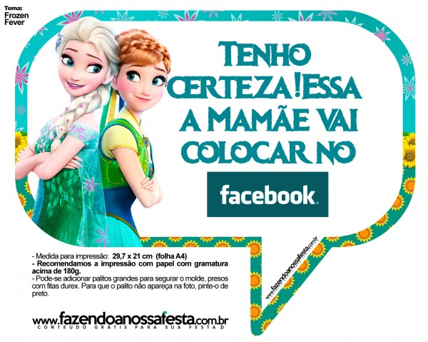 Plaquinhas Divertidas Frozen Fever