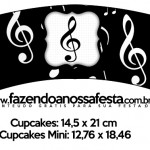 Saias Wrappers para Cupcakes Notas Musicais 1