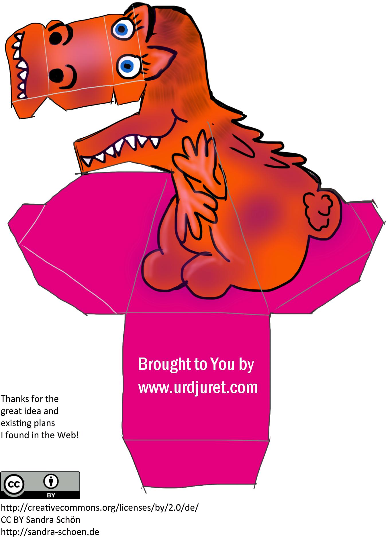 Dinossauro 3D de Papel que Mexe a Cabeça