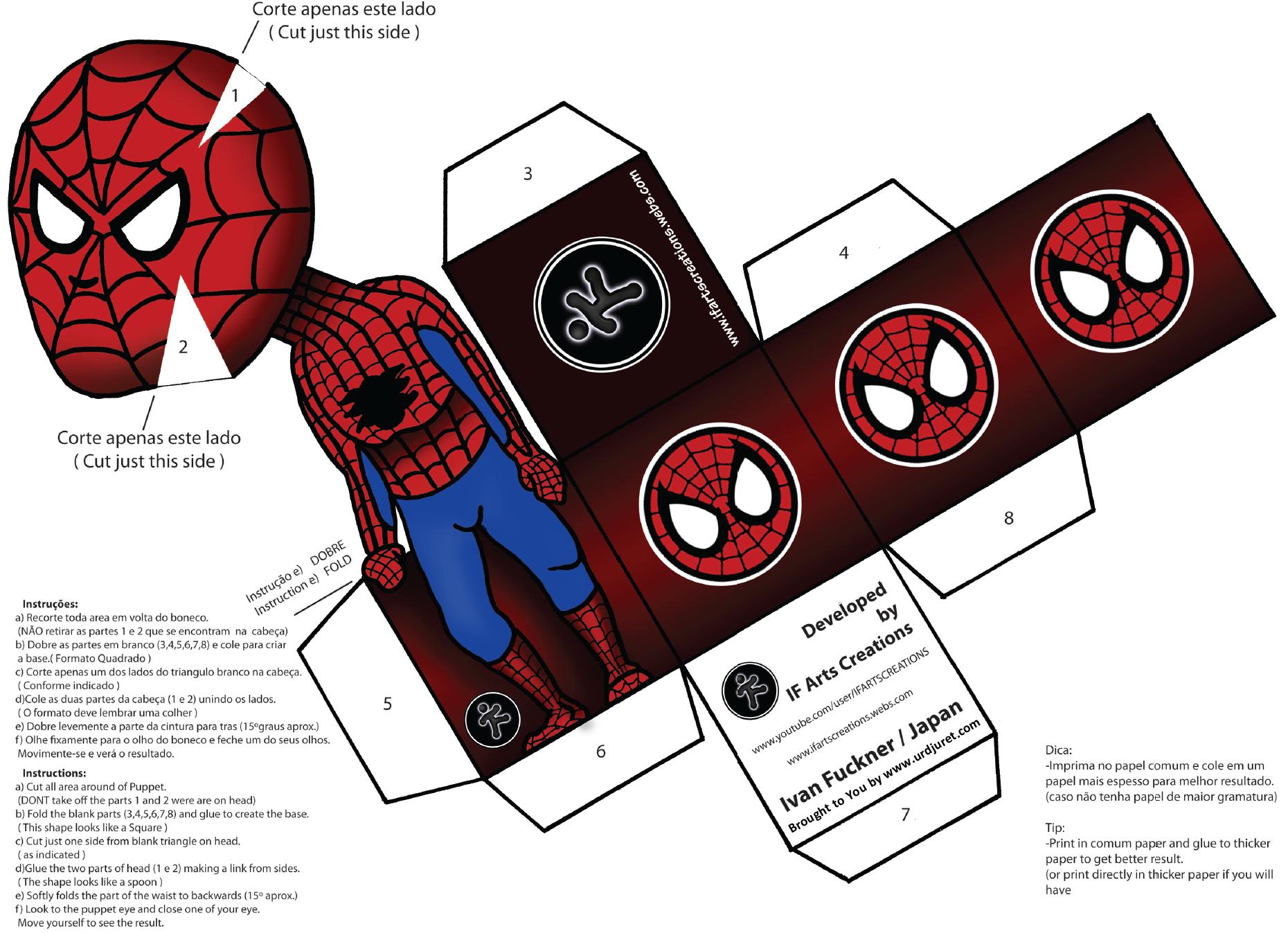 Homem Aranha 3D de Papel que Mexe a Cabeça