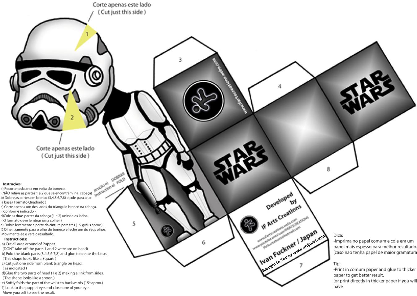 Star Wars 3D de Papel que Mexe a Cabeça