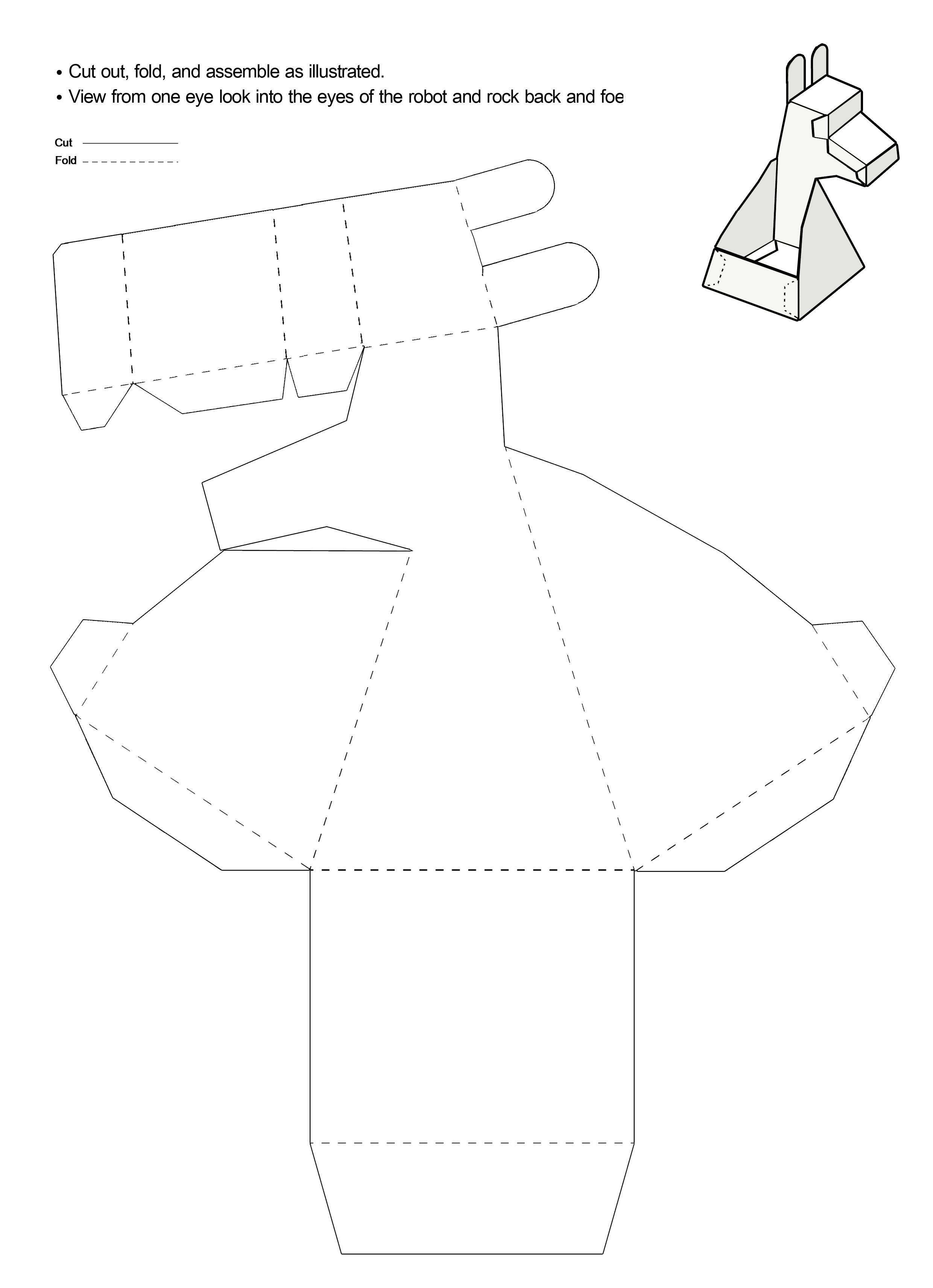 Molde em Branco 3D de Papel que Mexe a Cabeça