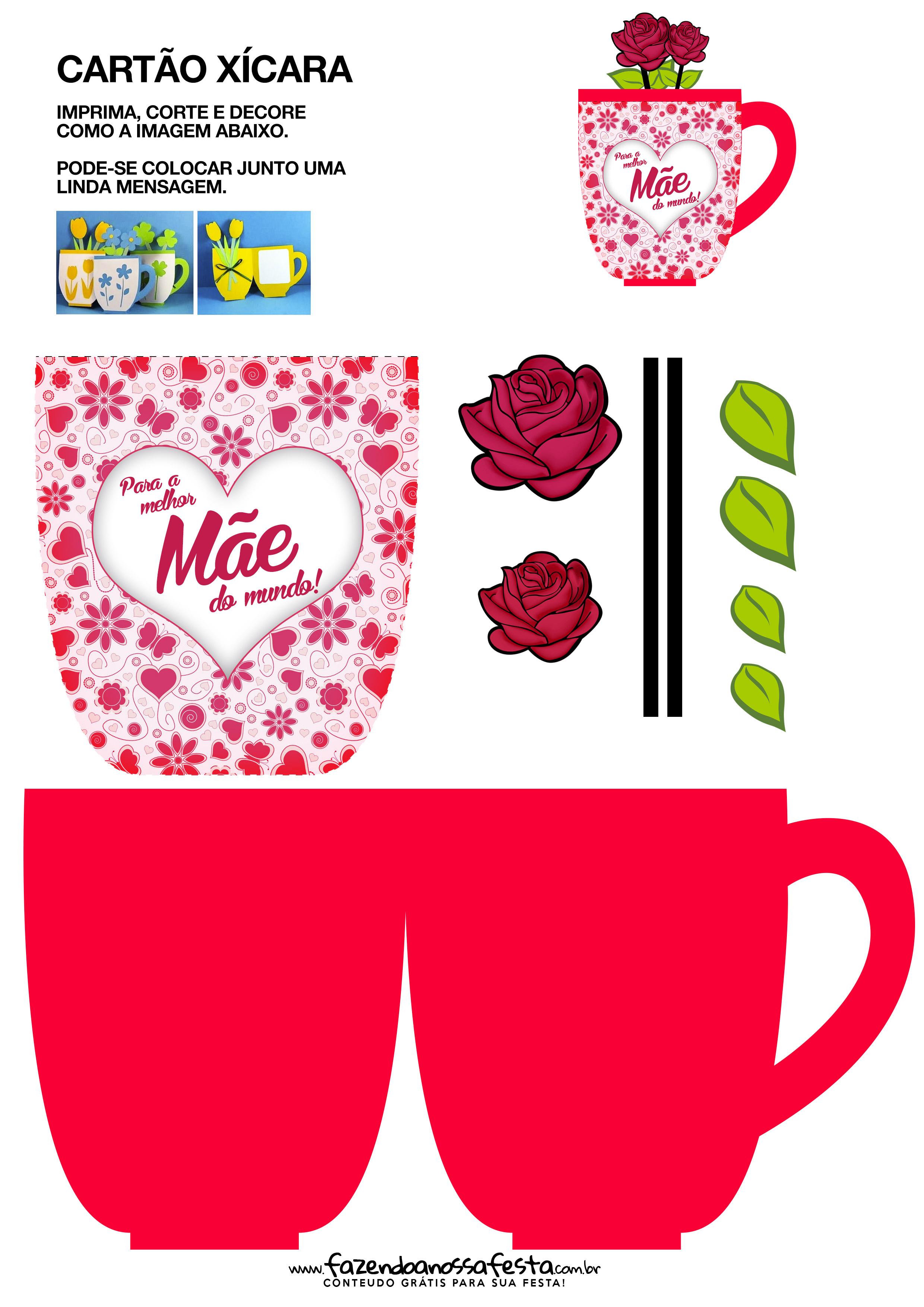 Cartão Xícara Para Dia Das Mães Rosa Fazendo A Nossa Festa