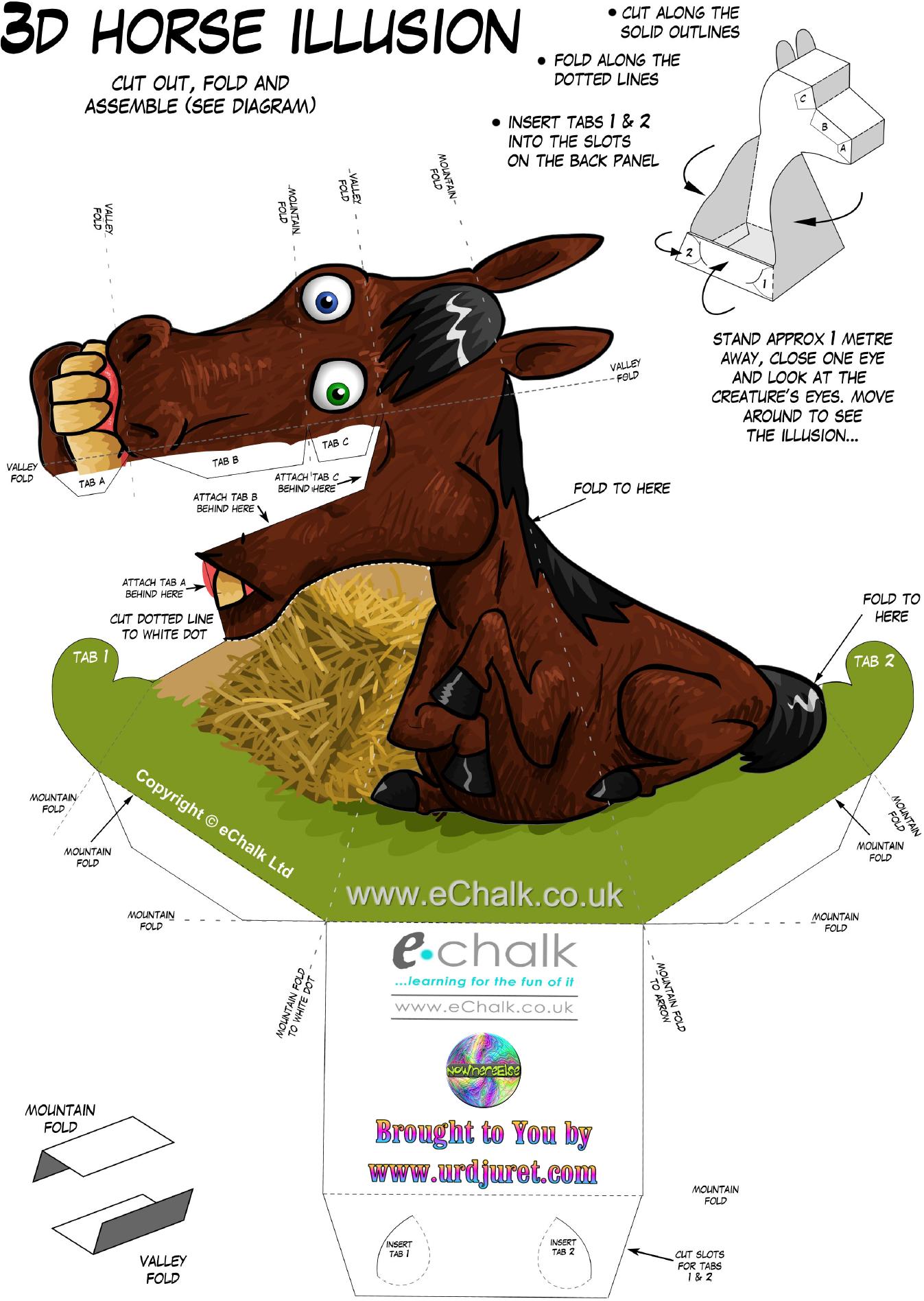 Cavalo 3D de Papel que Mexe a Cabeça