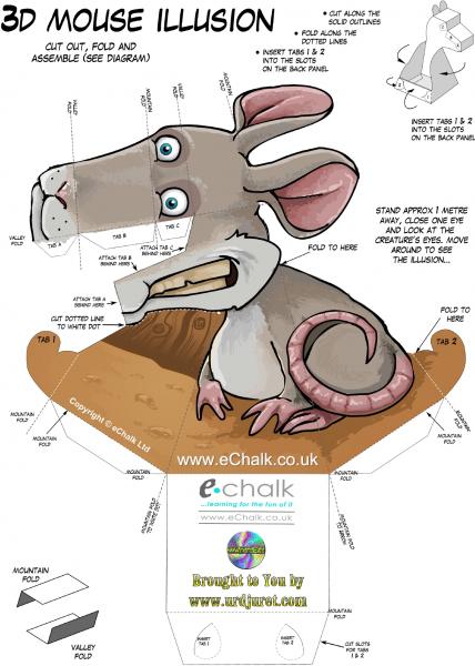 Rato 3D de Papel que Mexe a Cabeça