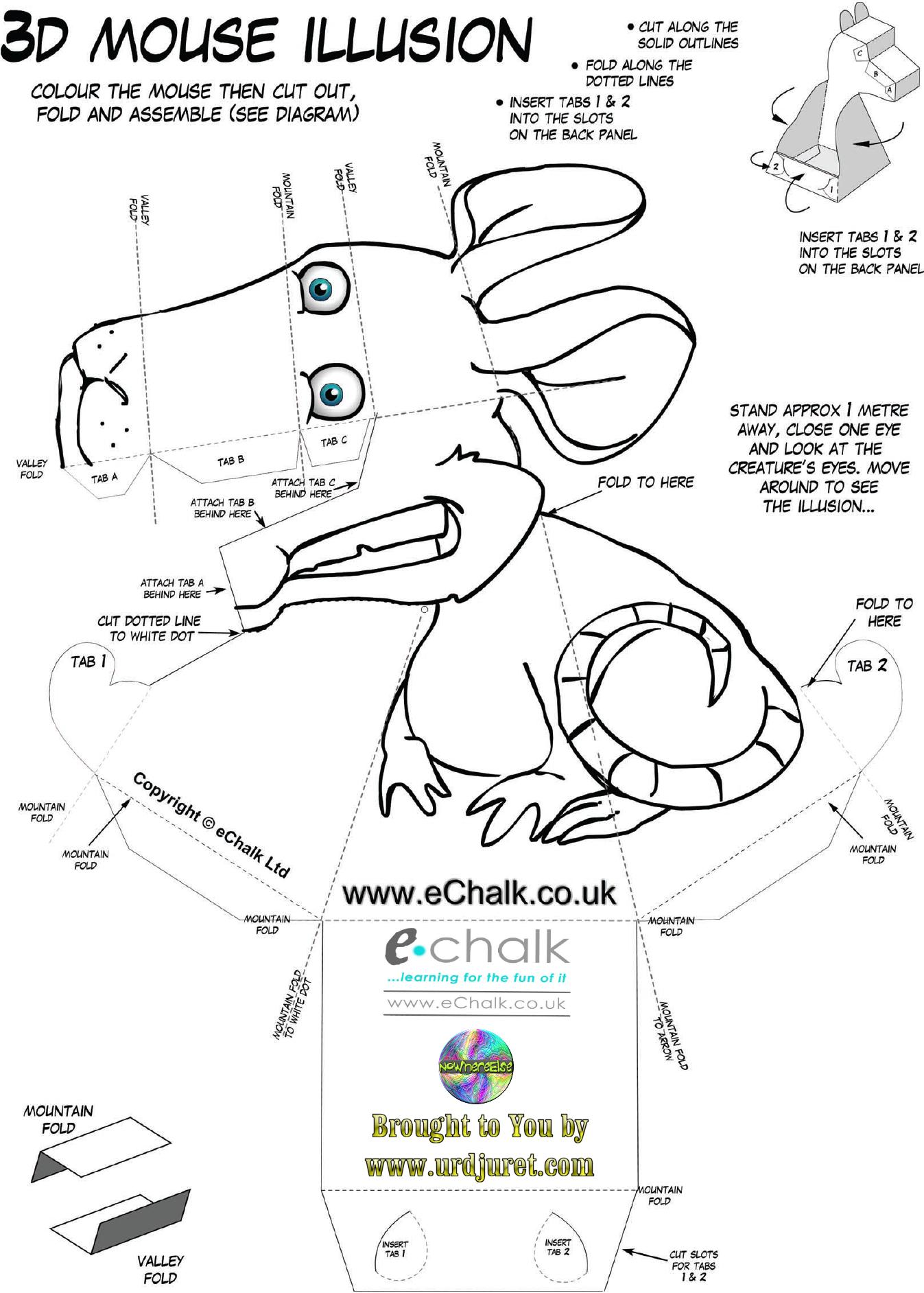 Rato 3D de Papel que Mexe a CabeçaRato 3D de Papel que Mexe a Cabeça