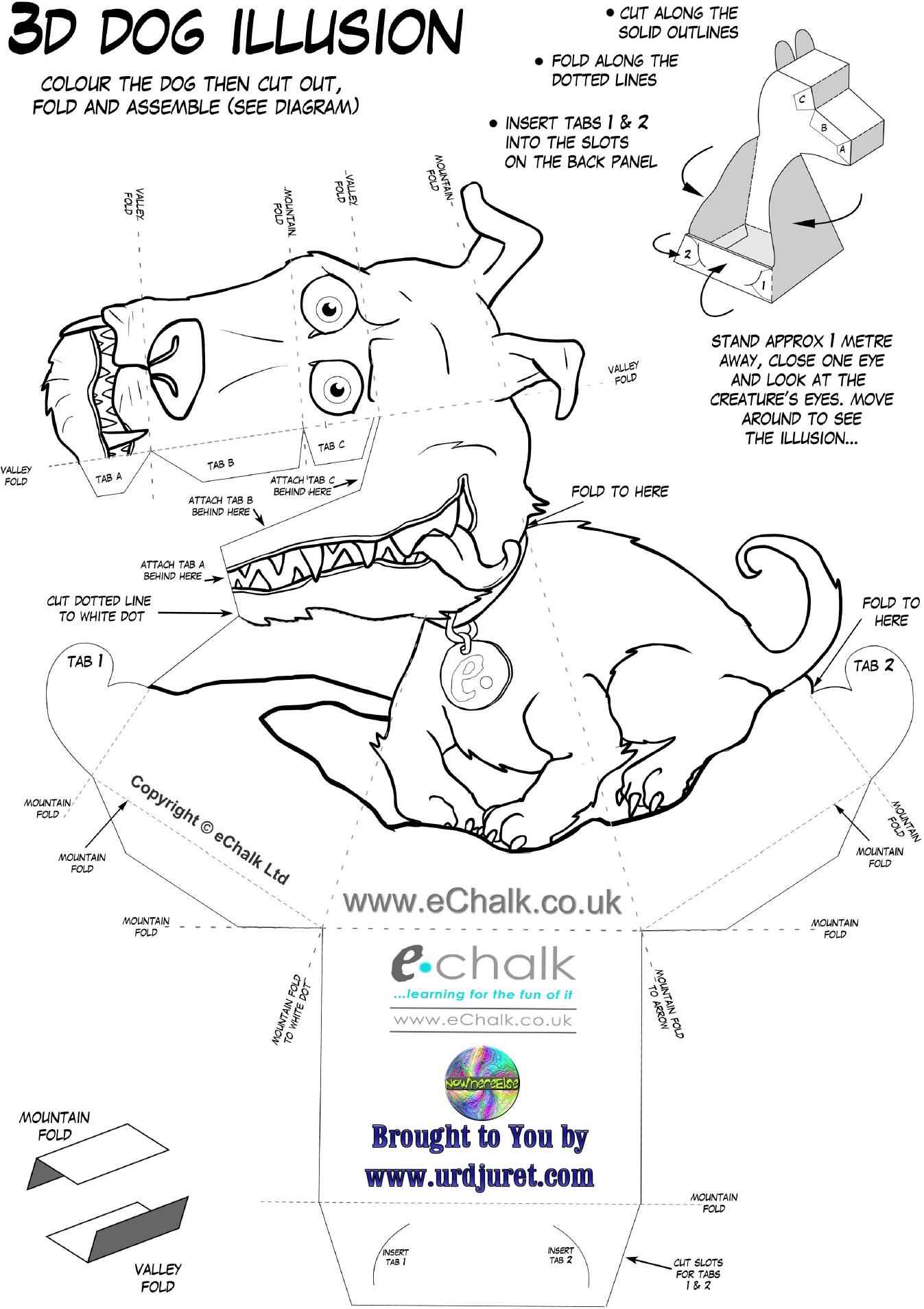Cachorro 3D de Papel que Mexe a Cabeça