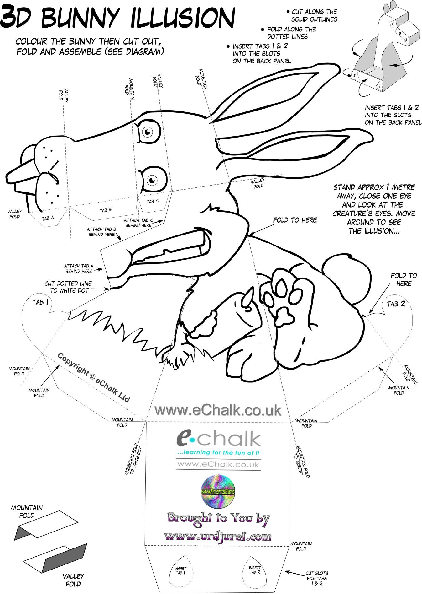 Coelho 3D de Papel que Mexe a Cabeça