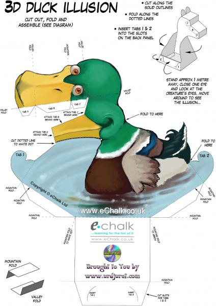 Pato 3D de Papel que Mexe a Cabeça