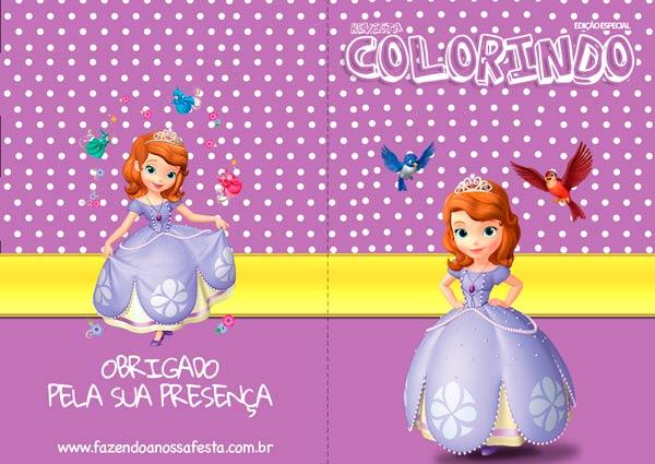 Capa Revista Colorindo - Livrinho para Colorir Princesa Sofia de graça