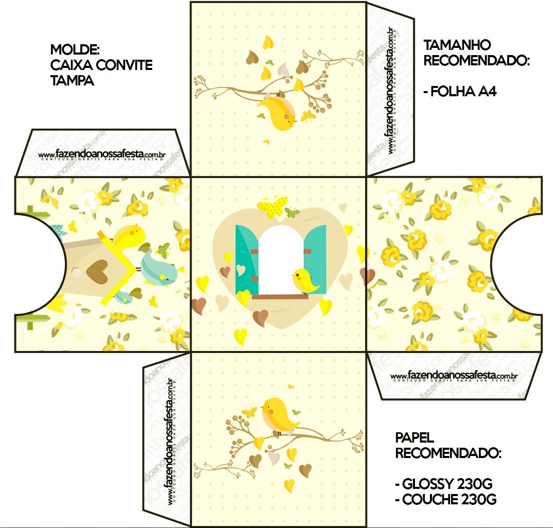 Caixa Convite Tampa Jardim Encantado Amarelo ProvençalCaixa Convite