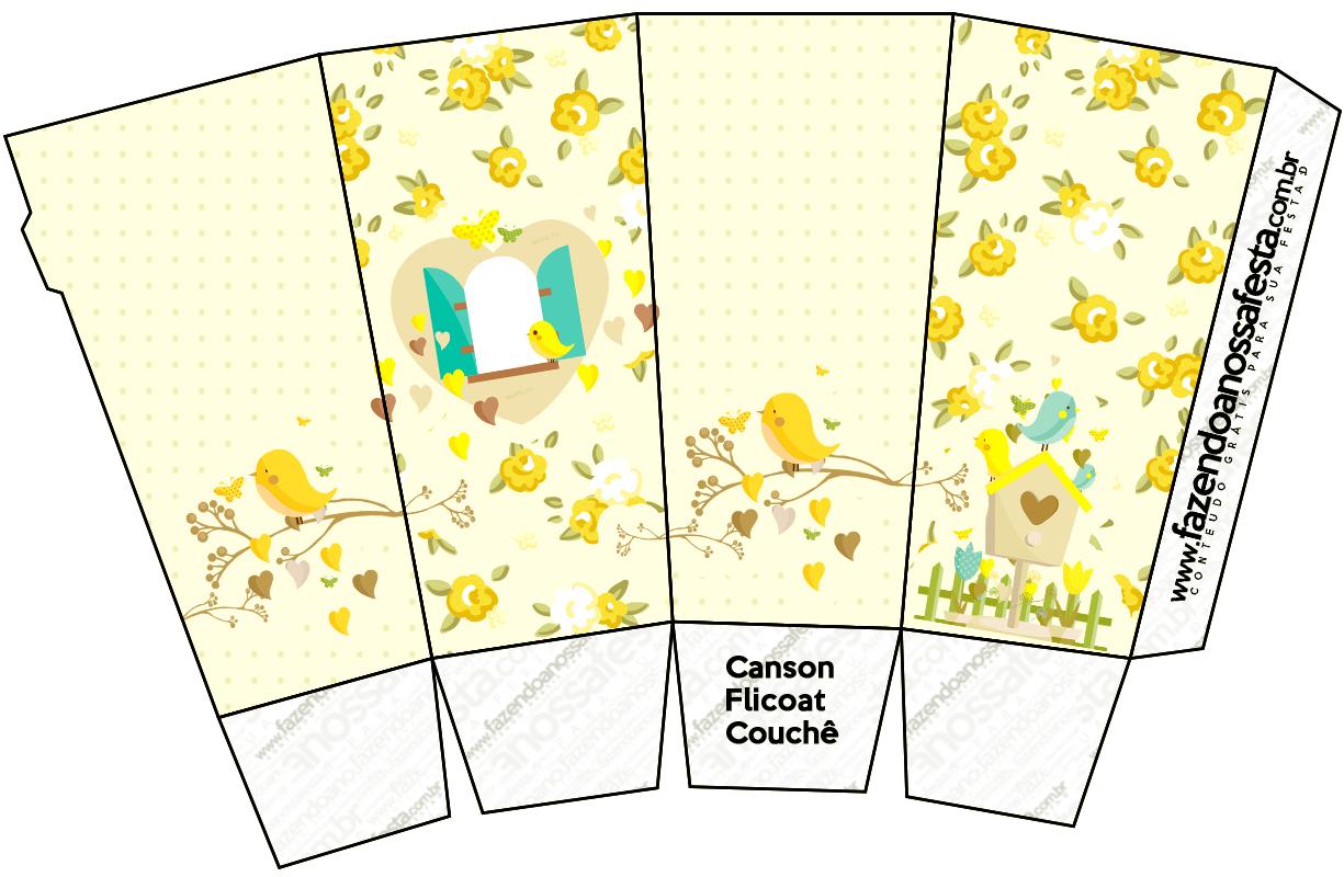 Caixa Pipoca Jardim Encantado Amarelo Provençal  Fazendo a Nossa