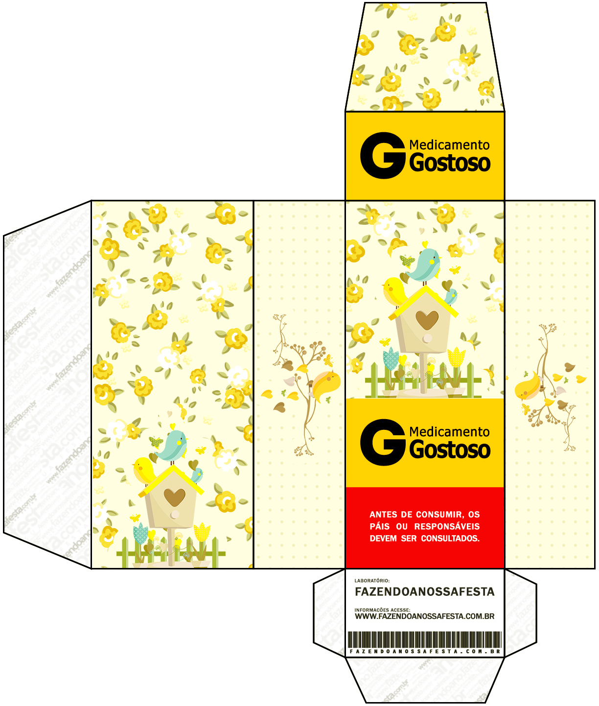 Caixa Remédio Jardim Encantado Amarelo Provençal  Fazendo a Nossa