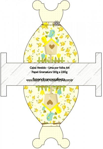 Caixa Vestido Jardim Encantado Amarelo Provençal