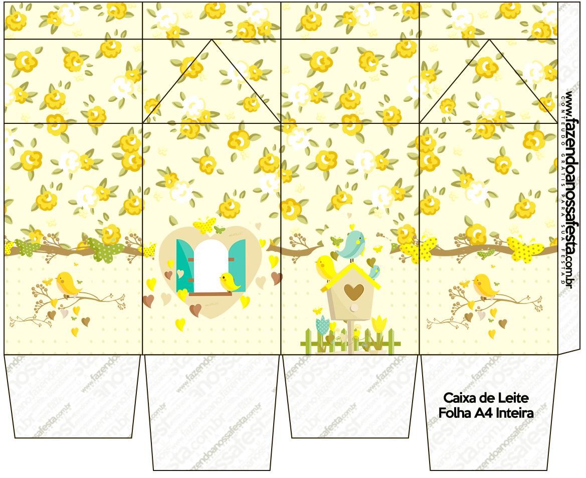 Caixa de Leite Jardim Encantado Amarelo Provençal  Fazendo a Nossa