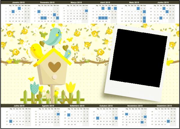 Calendário 2015 Jardim Encantado Amarelo Provençal