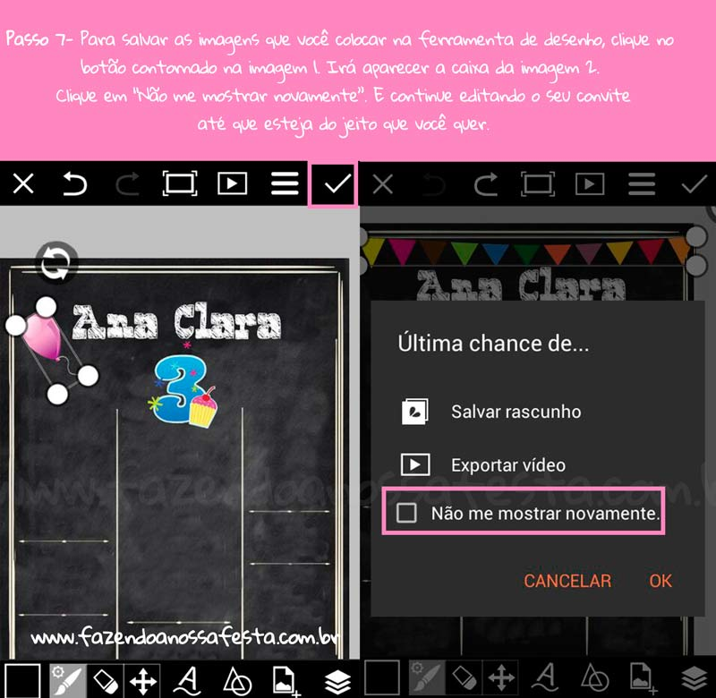 Como fazer convite quadro com PicsArt 5