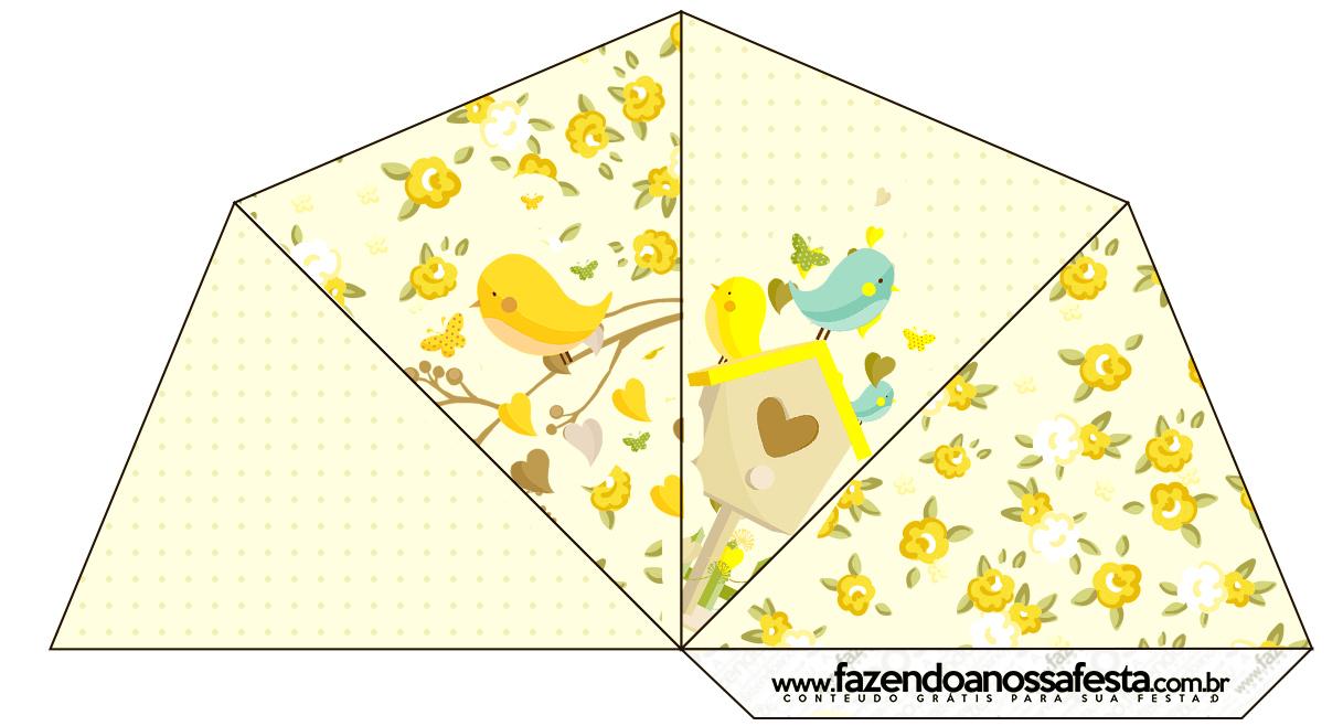 Cone Guloseimas 4 lados Jardim Encantado Amarelo Provençal  Fazendo