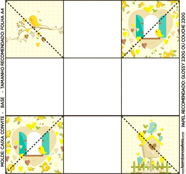 Convite Caixa Fundo Jardim Encantado Amarelo Provençal