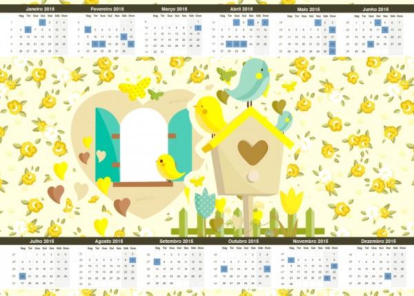 Convite Calendário 2015 Jardim Encantado Amarelo Provençal
