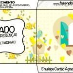 Envelope Cartão Agradecimento Jardim Encantado Amarelo Provençal