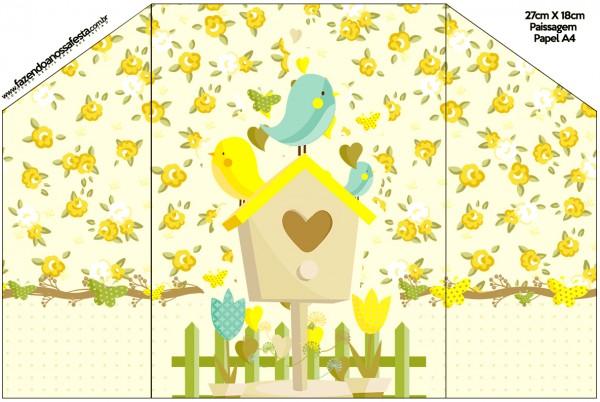 Envelope Convite Jardim Encantado Amarelo Provençal