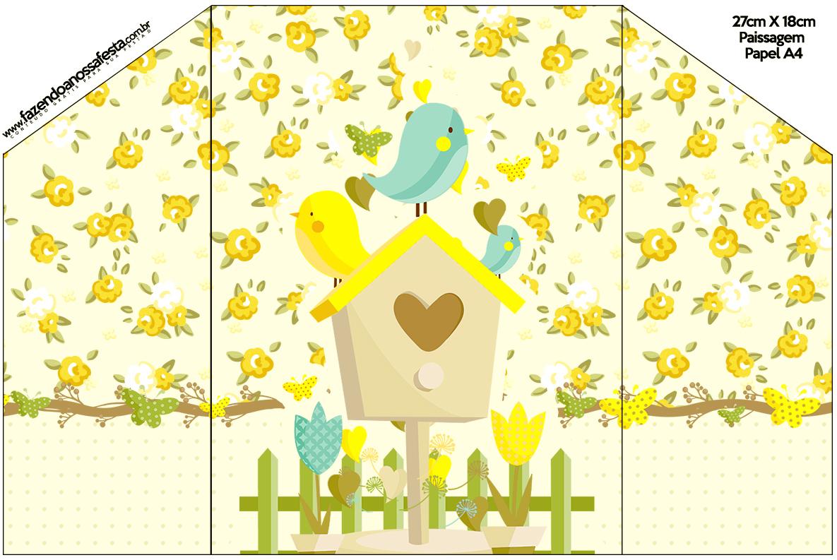 Envelope Convite Jardim Encantado Amarelo Provençal  Fazendo a Nossa
