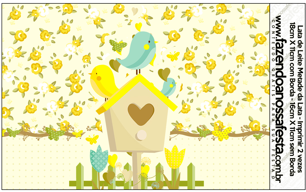Lata de Leite Jardim Encantado Amarelo Provençal  Fazendo a Nossa