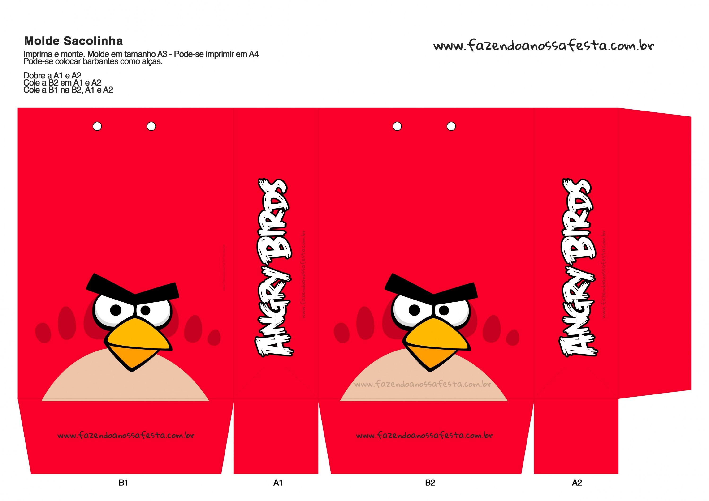 Molde Sacolinha Angry Birds Gratis E Pronta Para Imprimir