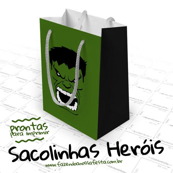 Vamos imprimir a Sacolinhas de Super Heróis para sua Festa.