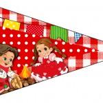 Bandeirinha 2 Kit Festa Junina Vermelho e Branco