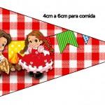Bandeirinha Sanduiche 2 Kit Festa Junina Vermelho e Branco