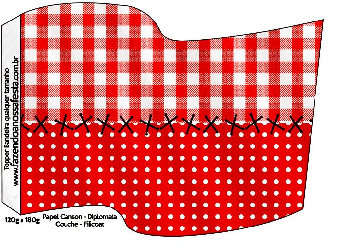 Bandeirinha Sanduiche Fundo Xadrez Vermelho e Poá