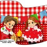 Bandeirinha Sanduiche Kit Festa Junina Vermelho e Branco 2