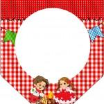 Bandeirinha Varalzinho 2 Kit Festa Junina Vermelho e Branco