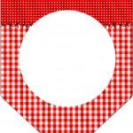 Bandeirinha Varalzinho Fundo Xadrez Vermelho e Poá